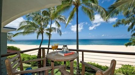 beachfront view from The Blue Wave House is just steps away from the many things to do, which you may find in our Oahu Travel Guide!