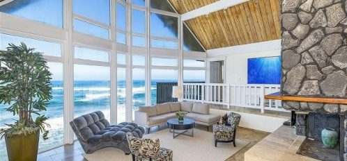 The Cliff Houses living room view of one of the best Oahu surf spots