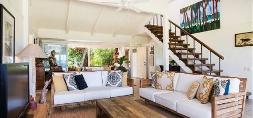 the living area for the Waterlily House, one of the most stunning East Shore Oahu rentals