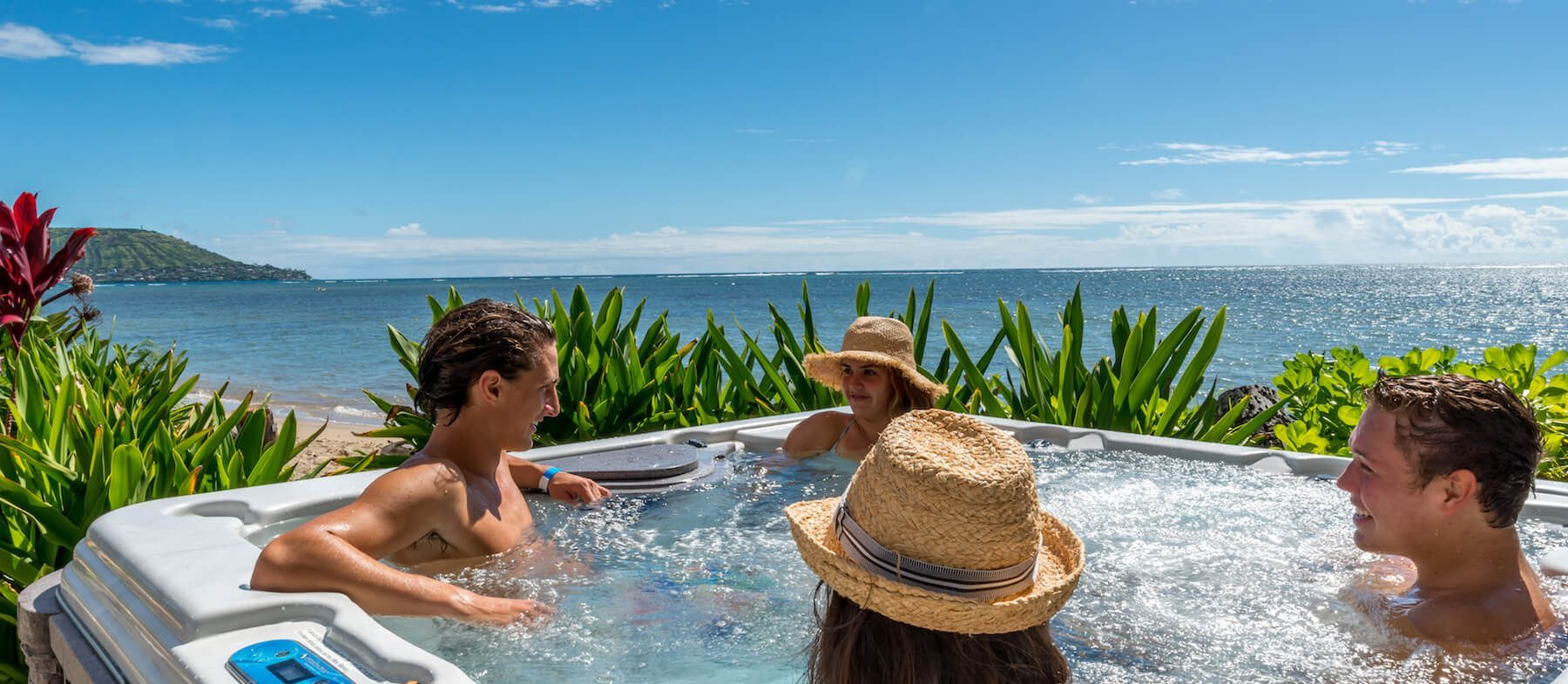 People In A Hot Tub During An Oahu Family Vacation