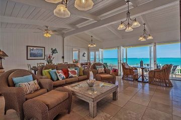the living room and the views from the Gidget's Beach Bungalow