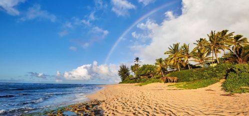 Rainbow over Lanikai Beach on Oahu